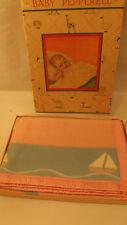 Vtg NOS 30s Pepperell Baby Crib Blanket Reversible Sailboat Design Satin Binding