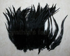 "100+ Black 5-7"" saddle COQUE rooster Feathers for crafting, wedding, millinery.."