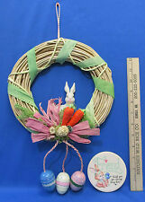 Easter Bunny Grapevine Wreath In Natural With Carrots & Eggs Plus Bunny Magnet