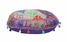 Bohemian Round Seating Pouf Cover Footstool Handmade Ottoman