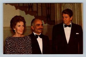 President Ronald Reagan And Wife Nancy, King Hussein, Chrome Postcard