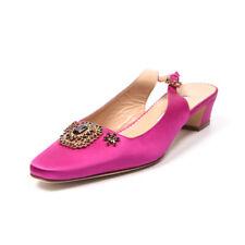 MANOLO BLAHNIK Slingback Shoes Pink Satin Beaded Size 39 / UK 6