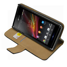 Black Wallet Leather Flip Case Cover for Sony Xperia M / C1904 / C1905 experia m