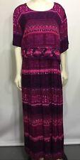 Liz Baker Womens 24W Purple Pink Print Short-Sleeve Long Dress