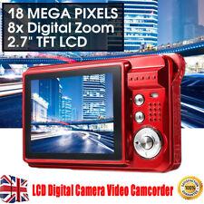 "2.7"" HD 720P 18MP 8x Zoom TFT LCD Digital Camera Video Camcorder  Anti-Shake Red"