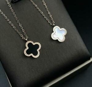 Silver Titanium Flower Clover Double-Sided Black/White Pearl Pendant Necklace