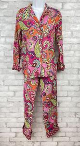 Vera Bradley 2 Piece Pajama Set Pink Paisley Pants Button Down LightWeight XS