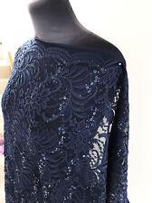 Midnight Navy & Navy Sequins Flora/Flower Stretch Lace Dressmaking Fabric