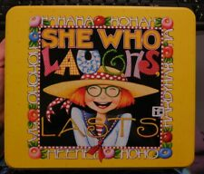 Mary Engelbreit She Who Laughs Last Yellow Tin 7x8 with Stationary & Pen