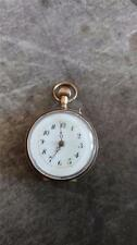 VINTAGE LADIES 10 SOLID GOLD PENDENT WATCH WITH ENAMEL PIN SET POCKET WATCH