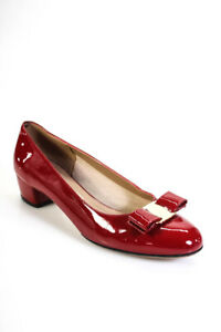Salvatore Ferragamo Womens Patent Leather Low Heel Classic Pumps Red Size 8 B