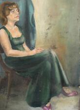 VINTAGE GOUACHE PAINTING LADY PORTRAIT