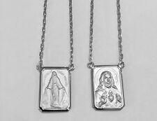 18k White Gold Scapular Our Lady of Grace with heart of Jesus Large Medal 8,3gr