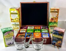 Luxury Tea Chest 12 Comp with 230 Twinings Enveloped Tea Bags.2 Glass Mugs