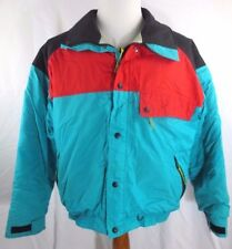 REI Mens Turquoise Red Black Ski Winter Front Zip Snap Button Jacket Size Large