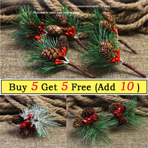 1x Artificial Christmas Red Berry Fake Pine Cone Branches for Xmas Party Decor