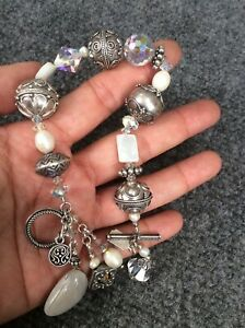 Beautiful Tres Jolie  Bali sterling silver 925 pearl  beads  toggle bracelet