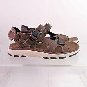 Size 13 / EUR 47 Men's Clarks Un Trek Bar Sandals 261326297 Olive Nubuck