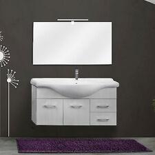 Mobile bagno 2 ante e 2 cassetti 105 cm bianco legno con specchiera e applique