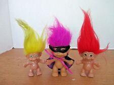 "Lot of 3 4"" Troll Dolls~Yellow, Red, Purple Hair"