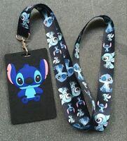 lot Cartoon stitch key chain Cute Lanyard ID Badge Holder Key Neck Strap