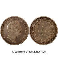 ALLEMAGNE, BADE, LEOPOLD I - 1/2 GULDEN ARGENT 1843