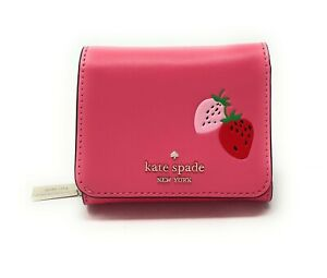 Kate Spade Trifold Compact Wallet Strawberry Picnic In The Park Pink Leather