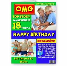 Personalised Magazine Cover Photo, Name. Age, A5, Male Happy Birthday Card