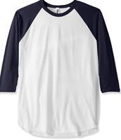 Marky G Apparel Men's Poly-Cotton 3/4-Sleeve Raglan T-Shirt Navy White Medium
