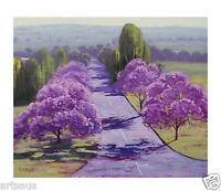 JACARANDA TREES PAINTING SPRING STREET ROAD Australian LANDSCAPE by G. Gercken