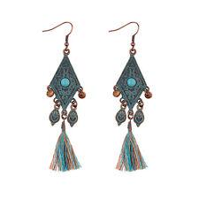 Nepalese style old hippie pattern geometric blue wooden beads tassel earrings