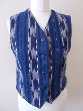 Women's Indigo Blue & White Mix V Neck Waistcoat Vest By St Michael M&S Size 12