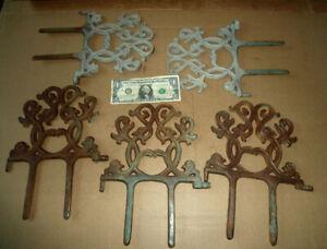 "Vintage 5 Cast Iron Garden Border Stakes,Lawn Edge,Fence,A.11-1/2"" x 8-1/2"" Tool"