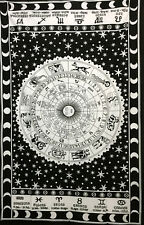 Zodiac Sun SIgn Wall Hanging Cotton Wonderful Design Twin Size Tapestry Fabric