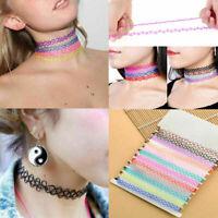 12x Kinder Halsband Damen Mädchen Halskette Tattoo Kette Set Elastisch Choker