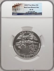 2020-P 5oz SILVER 25C Weir Farm Historic Site NGC SP70 perfect must see!