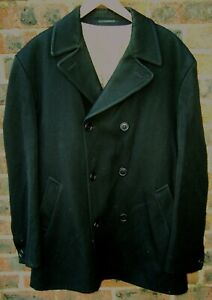 GIBSON MENS BLACK WOOL DOUBLE BREASTED TRENCH OVERCOAT SIZE LARGE 42 R