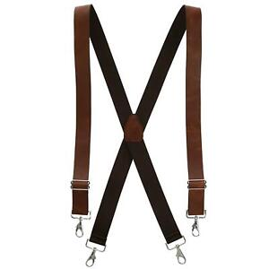 New CTM Men's Smooth Coated Leather Wide Width Suspenders with Metal Swivel Hook