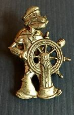"Vintage POPEYE THE SAILOR MAN Lapel Pin Pewter 1 1/2"" Britain UK Collectible"