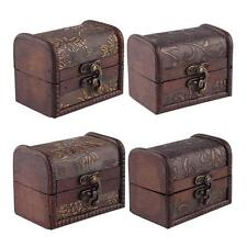Stylish Vintage Small Metal Lock Jewelry Treasure Chest Case Manual Wood Box X7