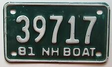 New Hampshire 1981 BOAT License Plate NICE QUALITY # 39717