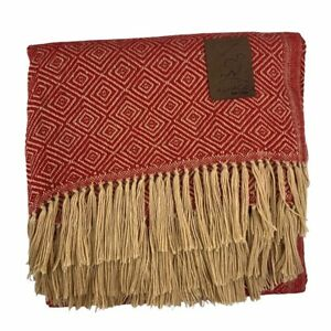 Luxurious Handmade Peruvian Alpaca Fringe Throw Blanket Red Gold