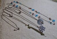 VINTAGE TO NOW ASSORTED LONG BRONZE TONE CHAIN PENDANT NECKLACE LOT PEACOCK