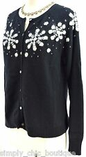 Eddie Bauer collectibles ugly Christmas sweater angora snowflake cardigan knit M