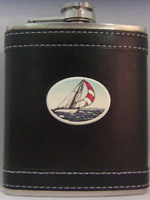 Barlow Leather Pocket Flask Stainless Steel 7 oz Broad Reach 272212c Ship New