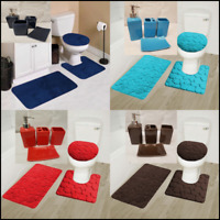 NEW 7PC SOLID BATHROOM SET RUG CONTOUR MAT TOILET LID COVER CERAMIC ACCESORIES