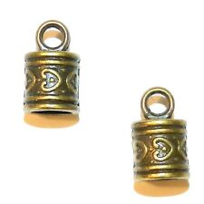 M946p Antiqued Bronze 16mm Cord End Cap with Loop 6mm Inside Diameter 10pc