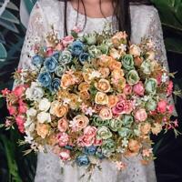 1 Bunch Rustic Retro Tea Rose Wedding Home Decor Flower Artificial DIY HOT