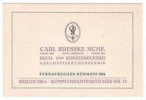 Carl Bresske Nchf. Berlin SW19 Buch- Kunstdruckerei Geschäftsbücherfabrik Karte