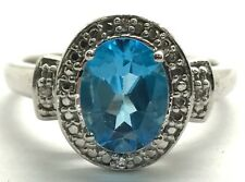 Sterling Silver Solitaire Oval Swiss Blue Topaz CZ Accent Cocktail Ring Sz 7.25